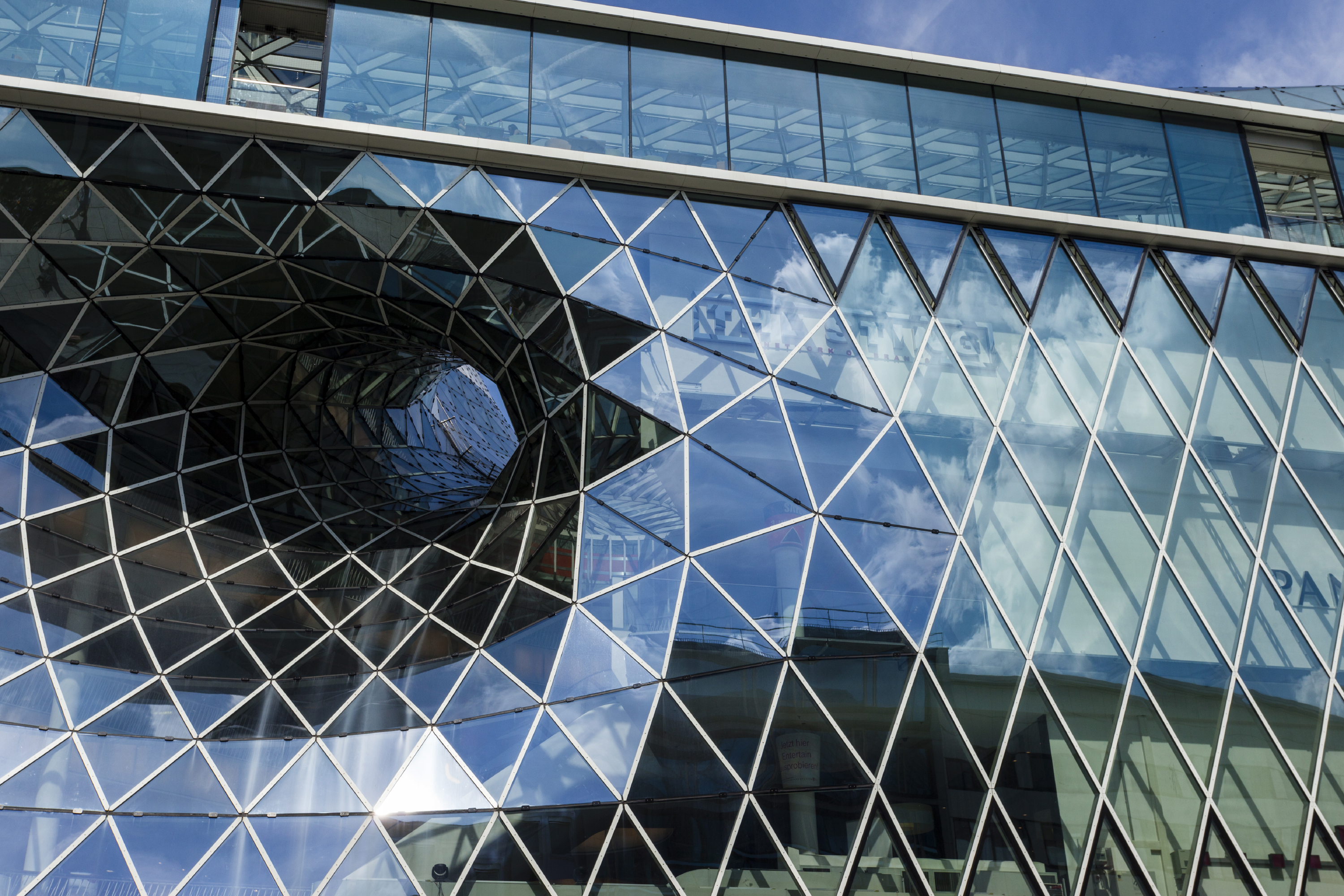 Glass facade of an exhibition hall